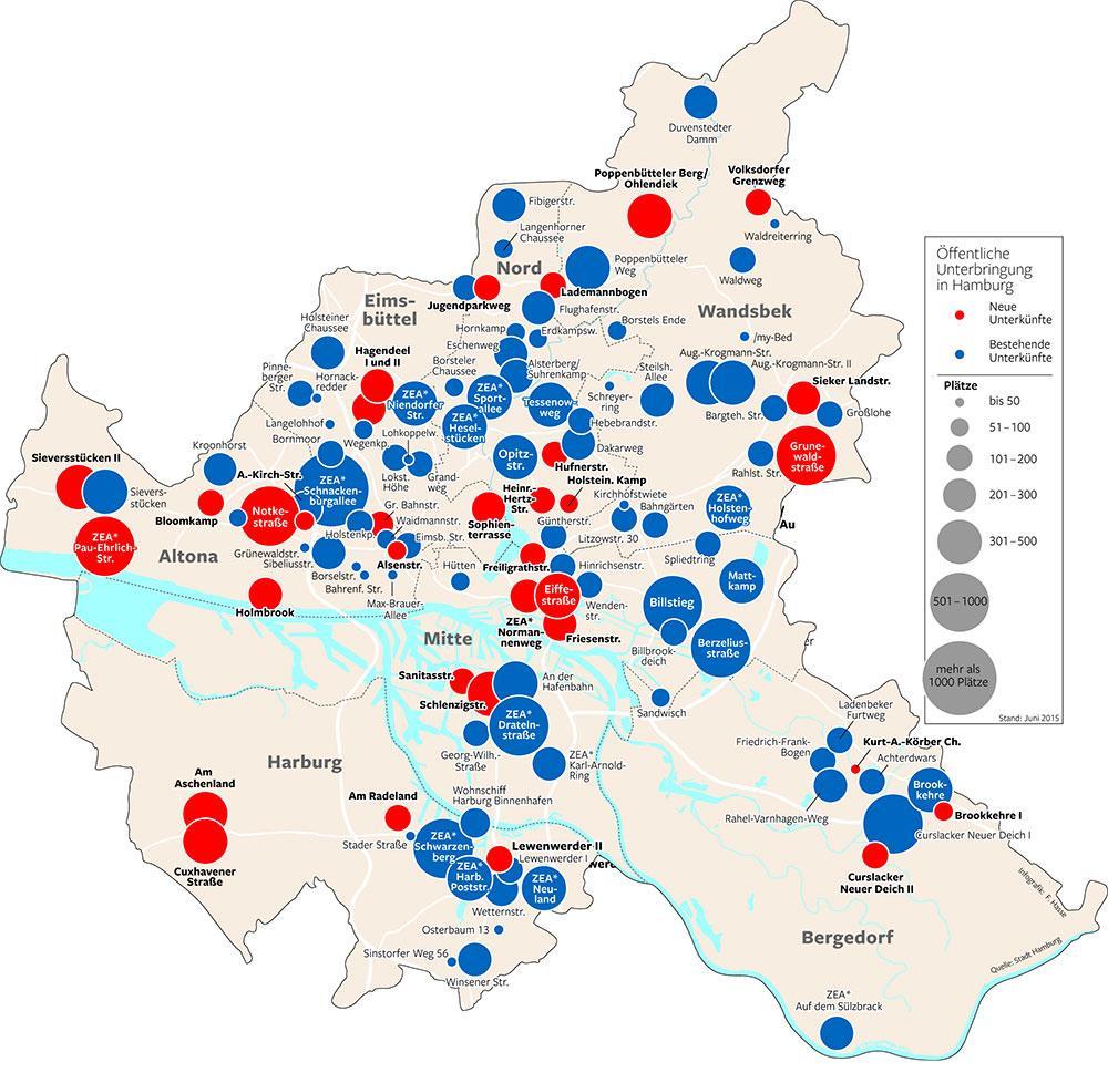 flüchtlingsunterkünfte hamburg karte Wo Hamburg Flüchtlinge unterbringt   Hamburger Abendblatt
